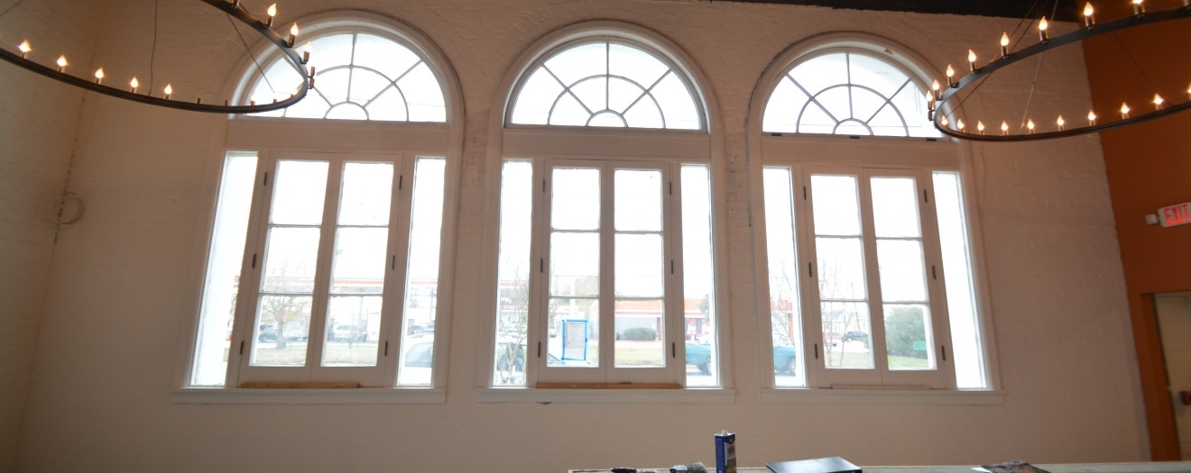 historical windows in bar area - under construction